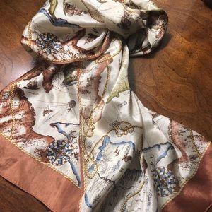 Echo 100% silk brown/beige map travel neck scarf